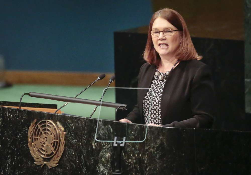 Canada's Minister of Health Jane Philpott speaks, while addressing the United Nations special session on global drug policy, Wednesday April 20, 2016 at U.N. headquarters. (AP Photo/Bebeto Matthews)